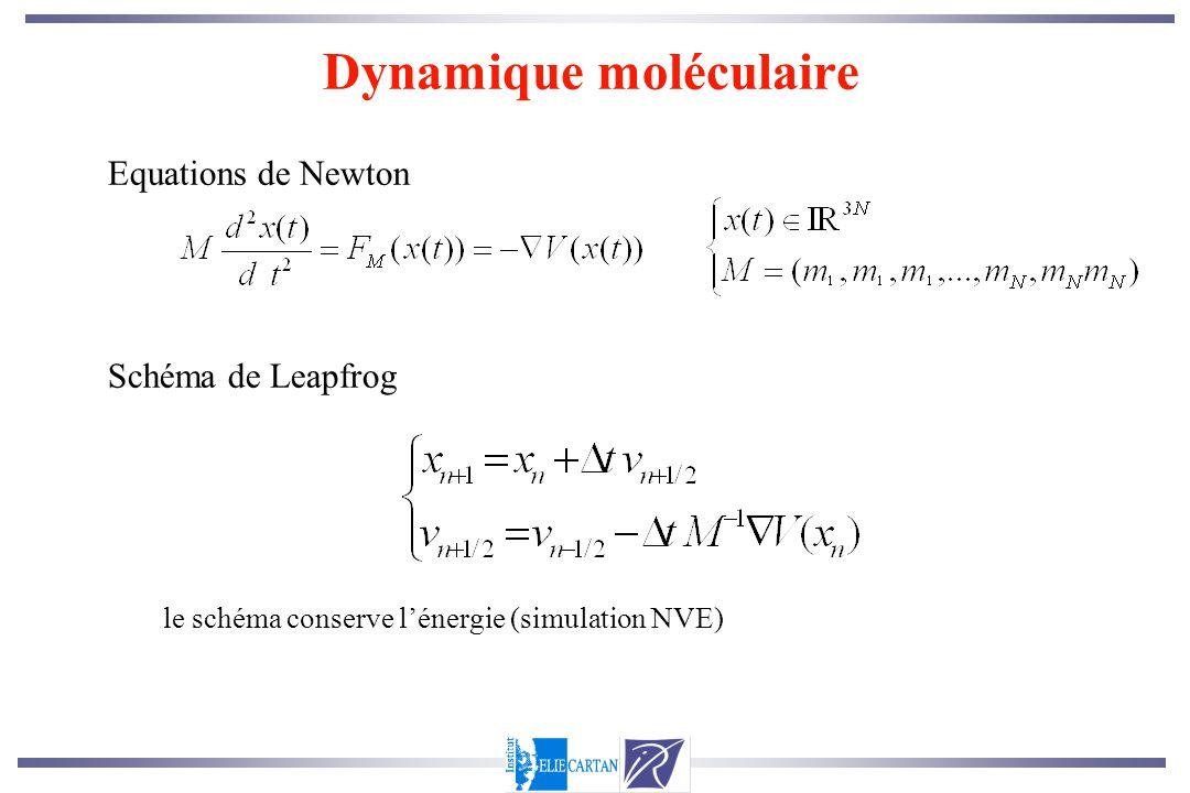 Equations de Newton Schéma de Leapfrog le schéma conserve lénergie (simulation NVE) Dynamique moléculaire