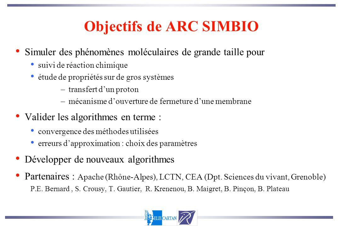 Objectifs de ARC SIMBIO Simuler des phénomènes moléculaires de grande taille pour suivi de réaction chimique étude de propriétés sur de gros systèmes