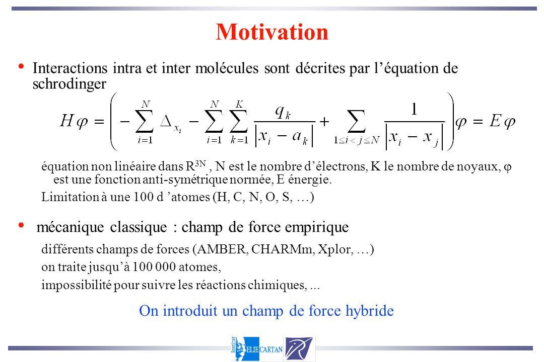 Motivation Interactions intra et inter molécules sont décrites par léquation de schrodinger équation non linéaire dans R 3N, N est le nombre délectron