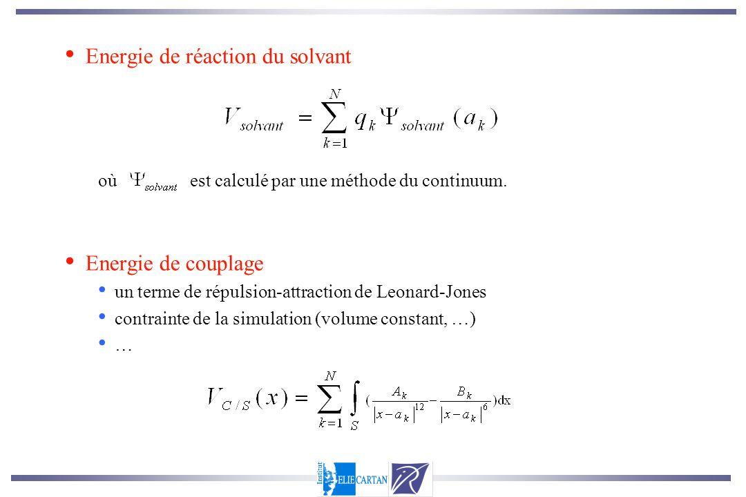 Energie de réaction du solvant où est calculé par une méthode du continuum. Energie de couplage un terme de répulsion-attraction de Leonard-Jones cont