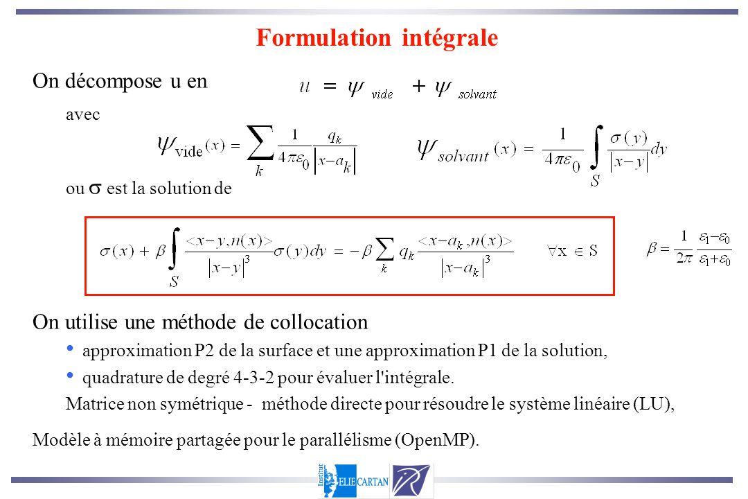 On décompose u en avec ou est la solution de On utilise une méthode de collocation approximation P2 de la surface et une approximation P1 de la soluti