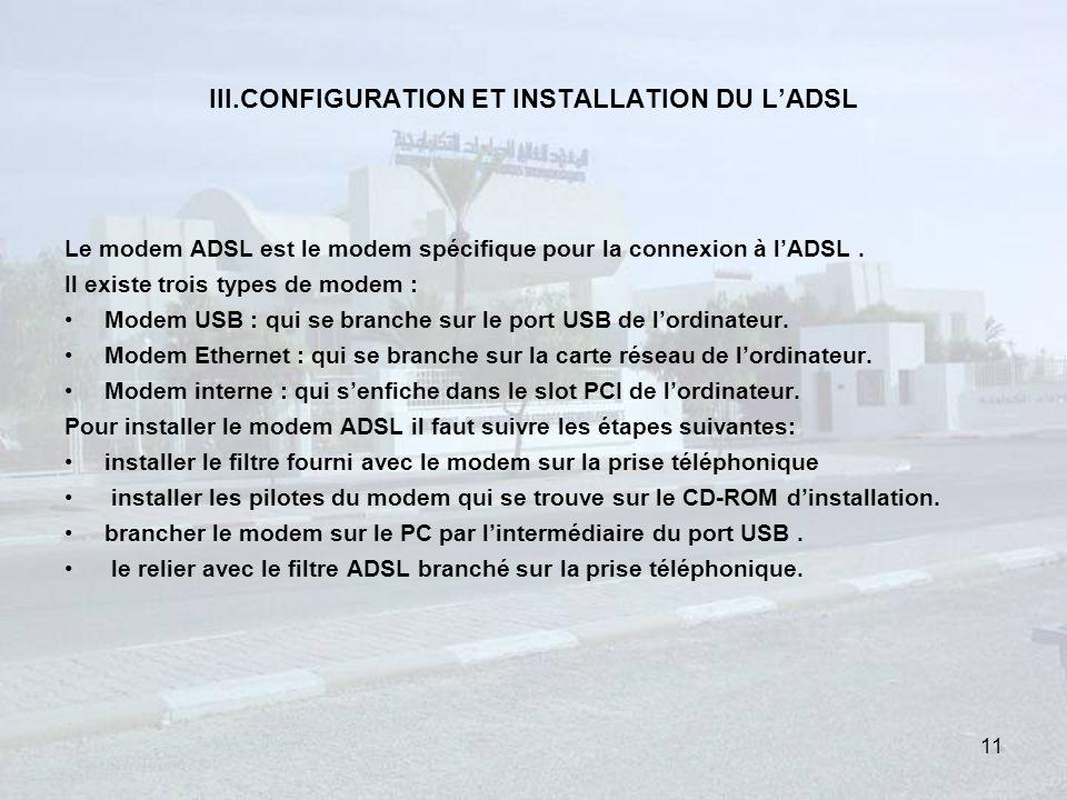 III.CONFIGURATION ET INSTALLATION DU LADSL Le modem ADSL est le modem spécifique pour la connexion à lADSL.