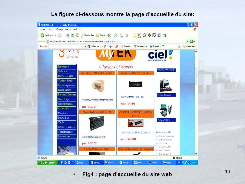 La figure ci-dessous montre la page daccueille du site: Fig4 : page daccueille du site web 13