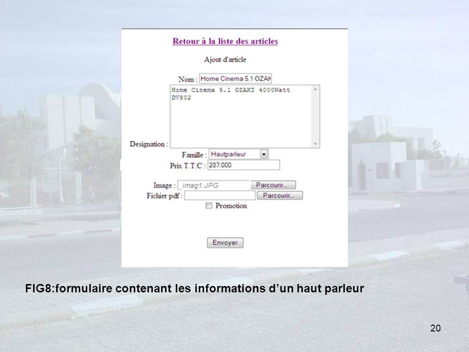 FIG8:formulaire contenant les informations dun haut parleur 20