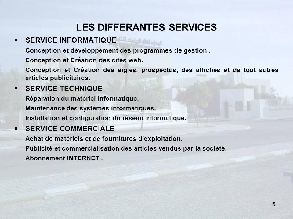 LES DIFFERANTES SERVICES SERVICE INFORMATIQUE Conception et développement des programmes de gestion.