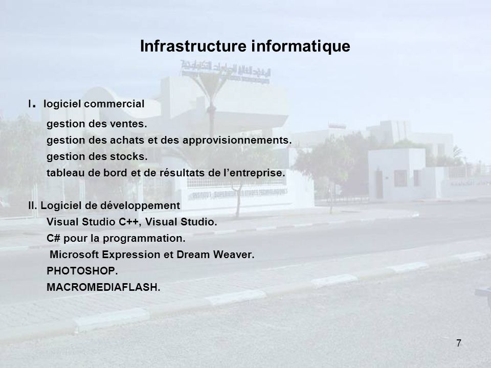 Infrastructure informatique I.logiciel commercial gestion des ventes.