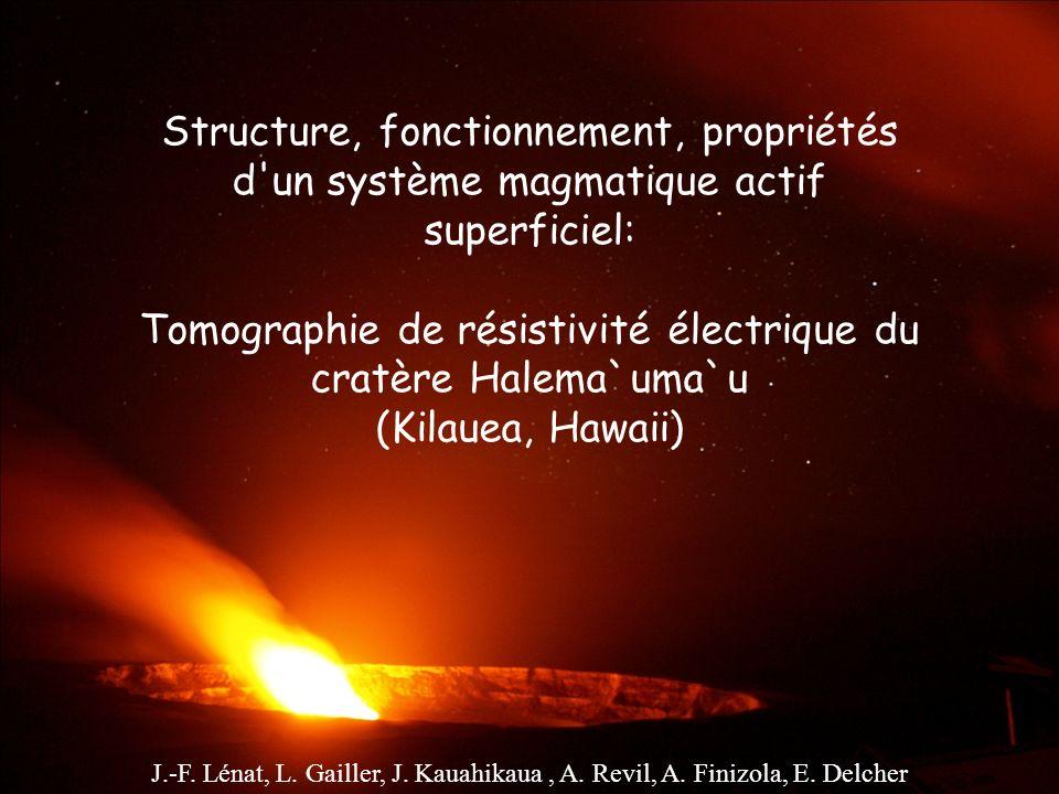 Structure, fonctionnement, propriétés d'un système magmatique actif superficiel: Tomographie de résistivité électrique du cratère Halema`uma`u (Kilaue