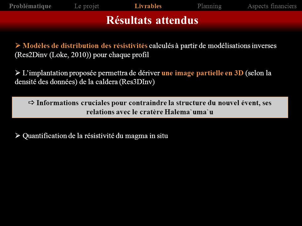 Modèles de distribution des résistivités calculés à partir de modélisations inverses (Res2Dinv (Loke, 2010)) pour chaque profil Limplantation proposée