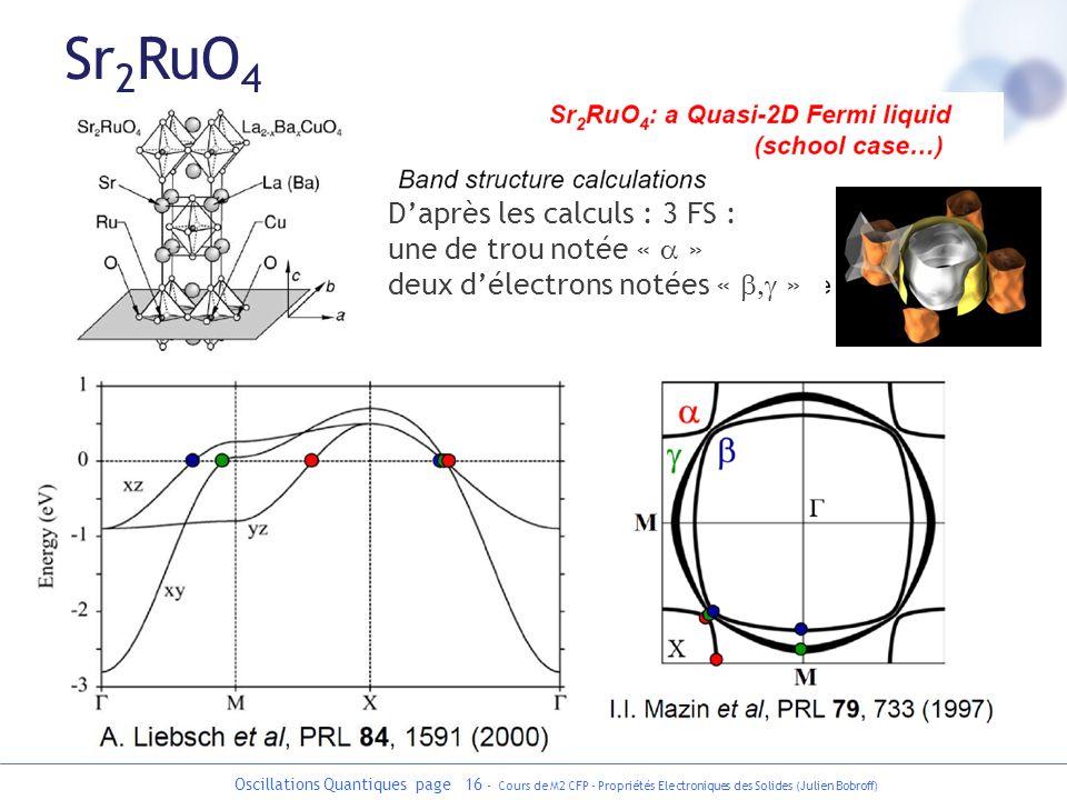 Oscillations Quantiques page 16 - Cours de M2 CFP - Propriétés Electroniques des Solides (Julien Bobroff) Sr 2 RuO 4 Daprès les calculs : 3 FS : une d