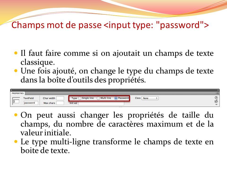 Champs mot de passe Il faut faire comme si on ajoutait un champs de texte classique.