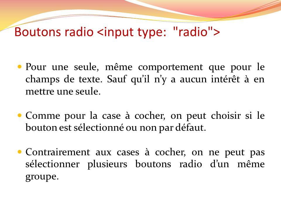 Boutons radio Pour une seule, même comportement que pour le champs de texte.
