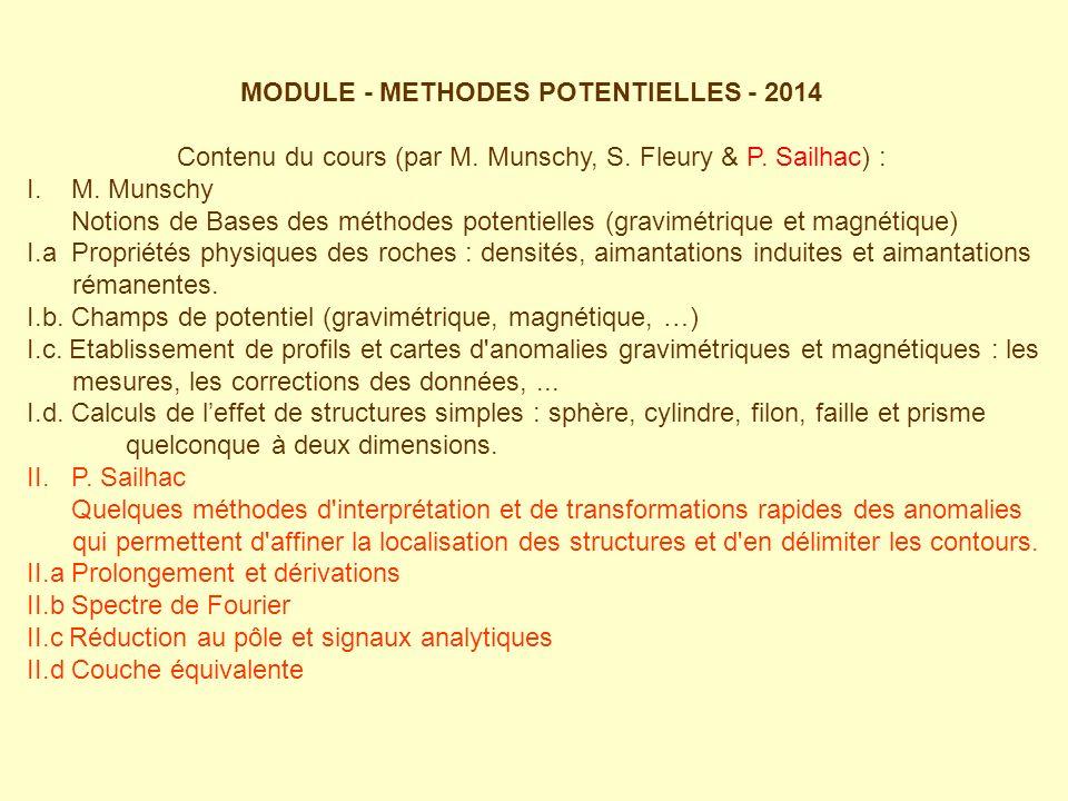 MODULE - METHODES POTENTIELLES - 2014 Contenu du cours (par M.