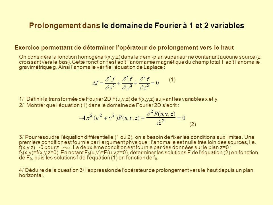 Prolongement dans le domaine de Fourier à 1 et 2 variables Exercice permettant de déterminer lopérateur de prolongement vers le haut On considère la fonction homogène f(x,y,z) dans le demi-plan supérieur ne contenant aucune source (z croissant vers le bas).