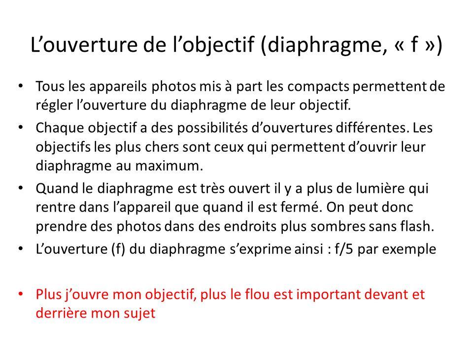 Louverture de lobjectif (diaphragme, « f ») Tous les appareils photos mis à part les compacts permettent de régler louverture du diaphragme de leur objectif.