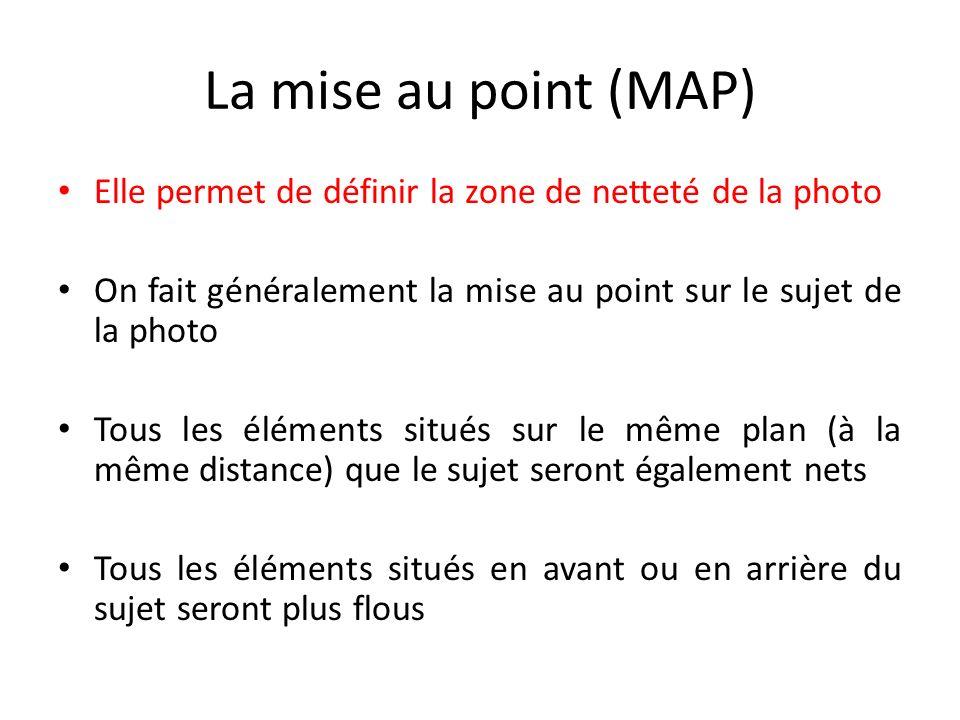 La mise au point (MAP) Elle permet de définir la zone de netteté de la photo On fait généralement la mise au point sur le sujet de la photo Tous les éléments situés sur le même plan (à la même distance) que le sujet seront également nets Tous les éléments situés en avant ou en arrière du sujet seront plus flous