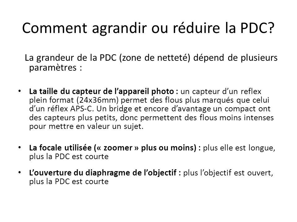 Comment agrandir ou réduire la PDC.