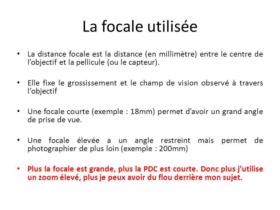 La focale utilisée La distance focale est la distance (en millimètre) entre le centre de lobjectif et la pellicule (ou le capteur).