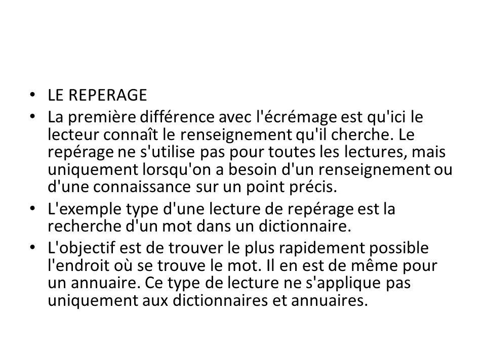 LE REPERAGE La première différence avec l'écrémage est qu'ici le lecteur connaît le renseignement qu'il cherche. Le repérage ne s'utilise pas pour tou