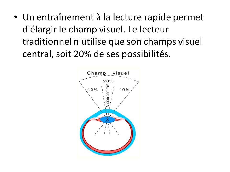 Un entraînement à la lecture rapide permet d'élargir le champ visuel. Le lecteur traditionnel n'utilise que son champs visuel central, soit 20% de ses