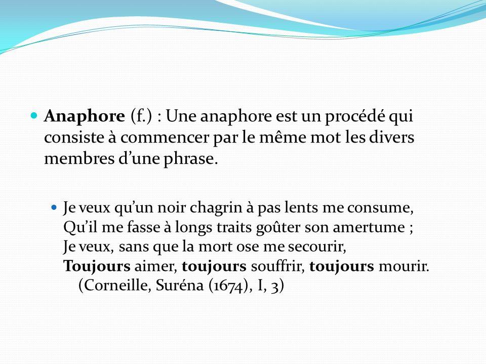 Anaphore (f.) : Une anaphore est un procédé qui consiste à commencer par le même mot les divers membres dune phrase. Je veux quun noir chagrin à pas l