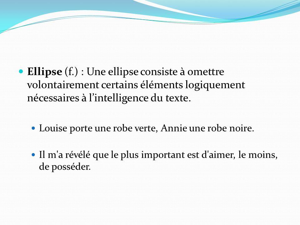 Ellipse (f.) : Une ellipse consiste à omettre volontairement certains éléments logiquement nécessaires à lintelligence du texte. Louise porte une robe