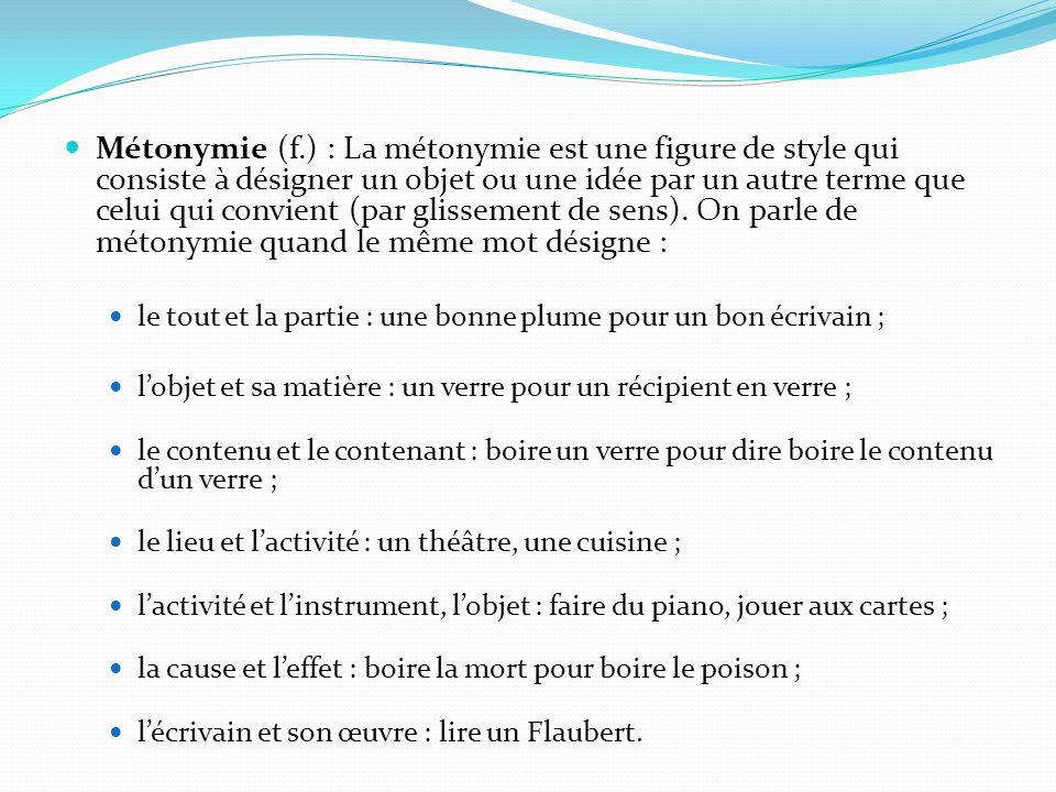 Métonymie (f.) : La métonymie est une figure de style qui consiste à désigner un objet ou une idée par un autre terme que celui qui convient (par glis