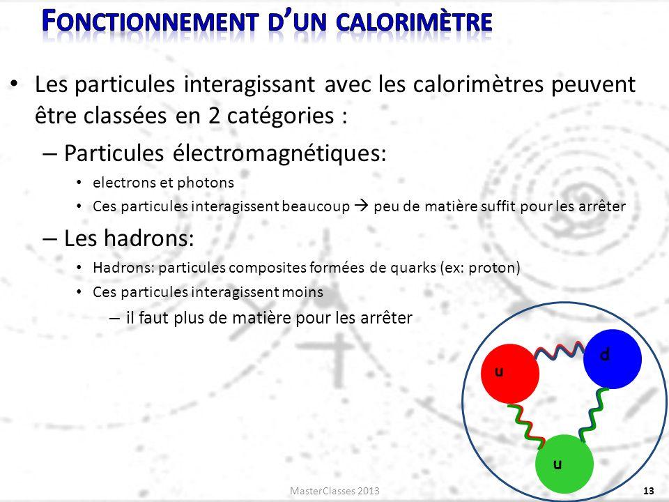 Les particules interagissant avec les calorimètres peuvent être classées en 2 catégories : – Particules électromagnétiques: electrons et photons Ces particules interagissent beaucoup peu de matière suffit pour les arrêter – Les hadrons: Hadrons: particules composites formées de quarks (ex: proton) Ces particules interagissent moins – il faut plus de matière pour les arrêter 13 u u d MasterClasses 2013