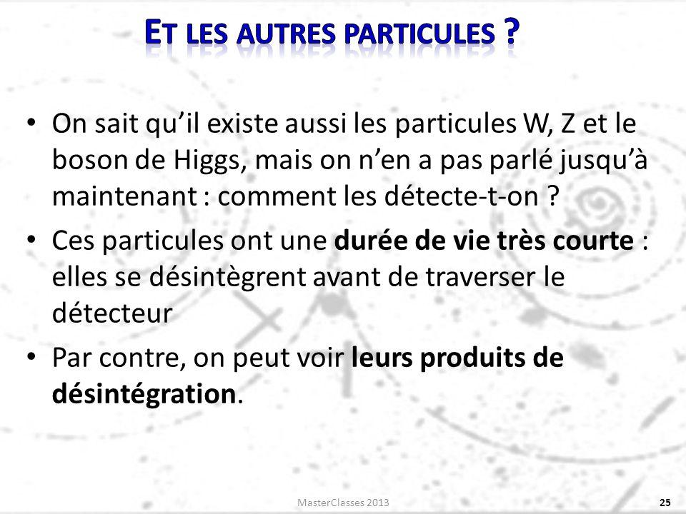 On sait quil existe aussi les particules W, Z et le boson de Higgs, mais on nen a pas parlé jusquà maintenant : comment les détecte-t-on ? Ces particu