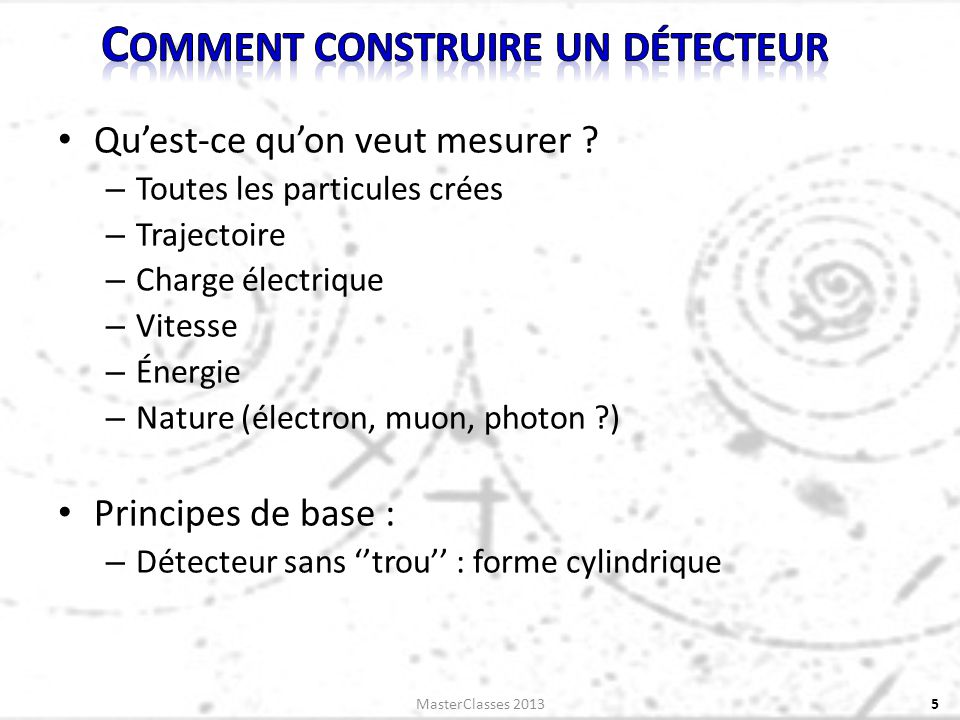 Quest-ce quon veut mesurer ? – Toutes les particules crées – Trajectoire – Charge électrique – Vitesse – Énergie – Nature (électron, muon, photon ?) P