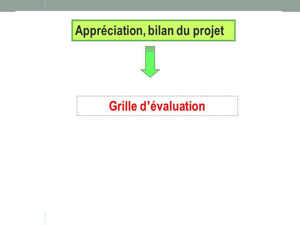 Appréciation, bilan du projet Grille dévaluation
