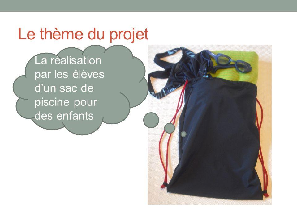 Le thème du projet La réalisation par les élèves dun sac de piscine pour des enfants
