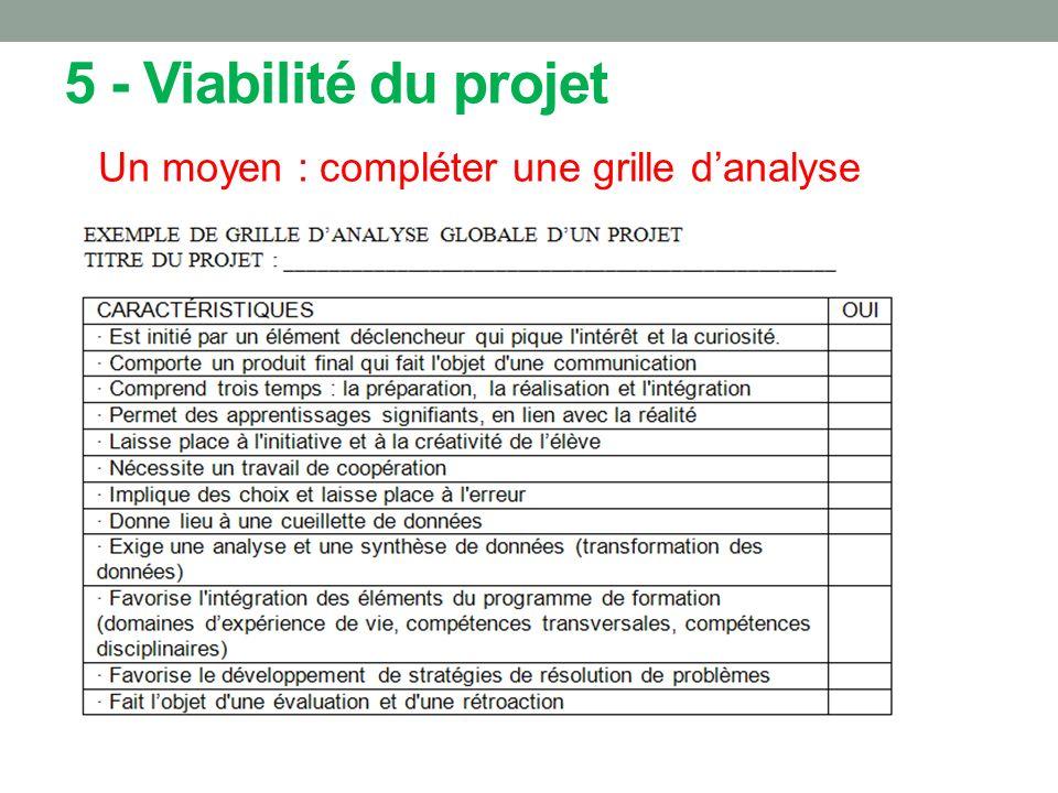5 - Viabilité du projet Un moyen : compléter une grille danalyse