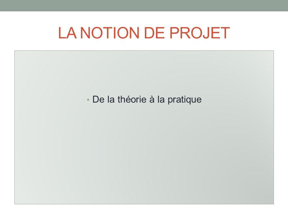 LA NOTION DE PROJET De la théorie à la pratique
