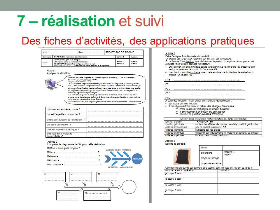 7 – réalisation et suivi Des fiches dactivités, des applications pratiques