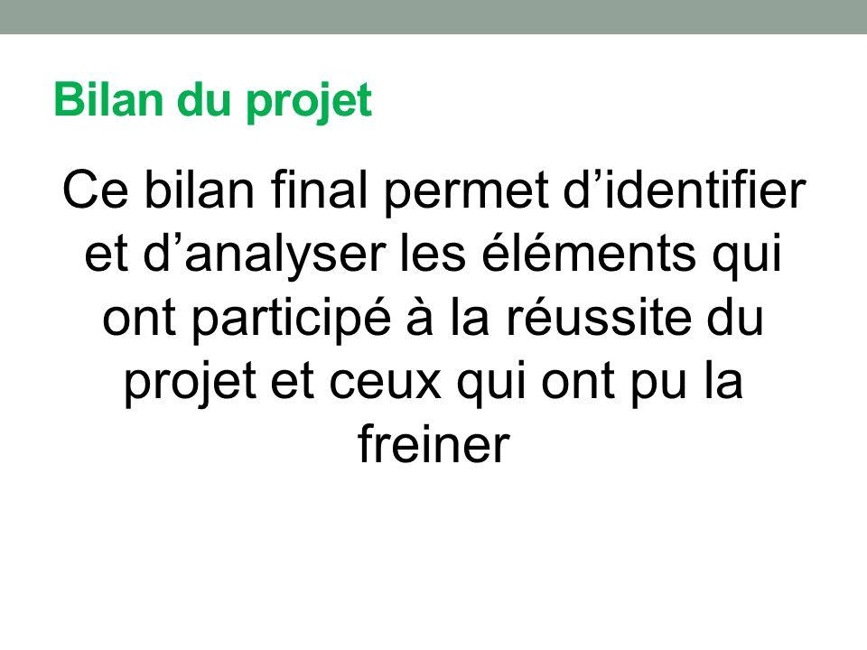 Bilan du projet Ce bilan final permet didentifier et danalyser les éléments qui ont participé à la réussite du projet et ceux qui ont pu la freiner