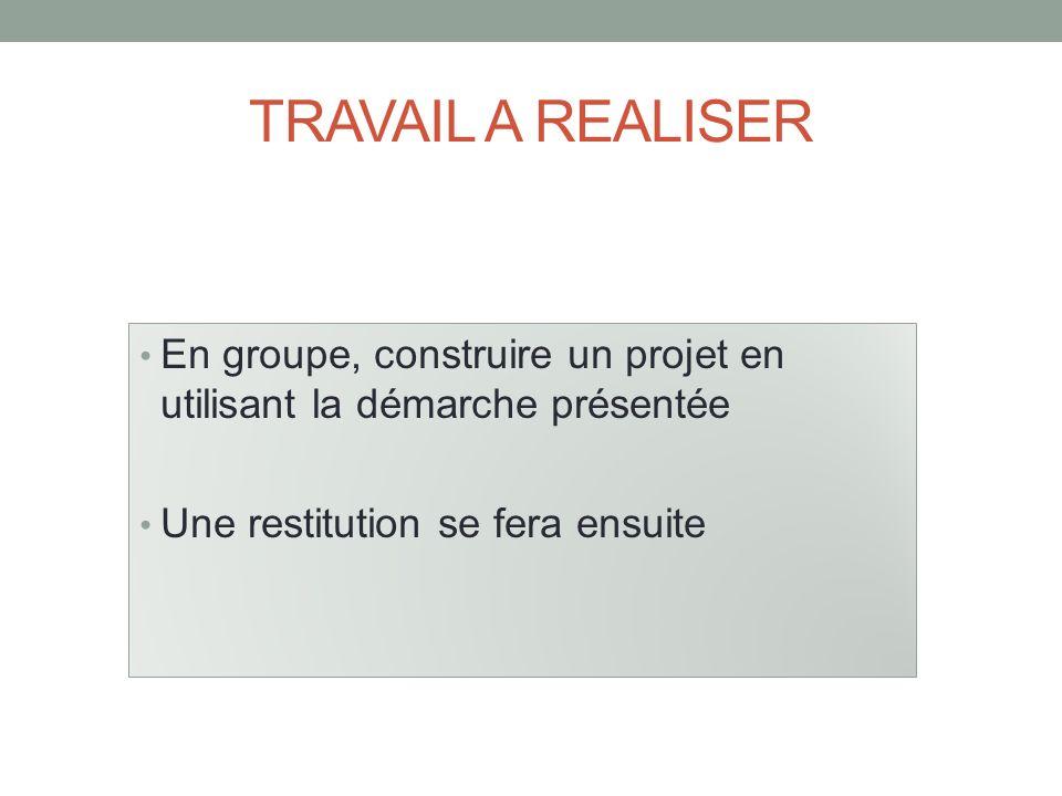 TRAVAIL A REALISER En groupe, construire un projet en utilisant la démarche présentée Une restitution se fera ensuite
