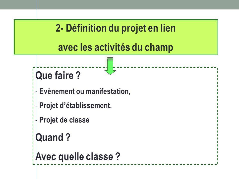 2- Définition du projet en lien avec les activités du champ Que faire ? - Evènement ou manifestation, - Projet détablissement, - Projet de classe Quan