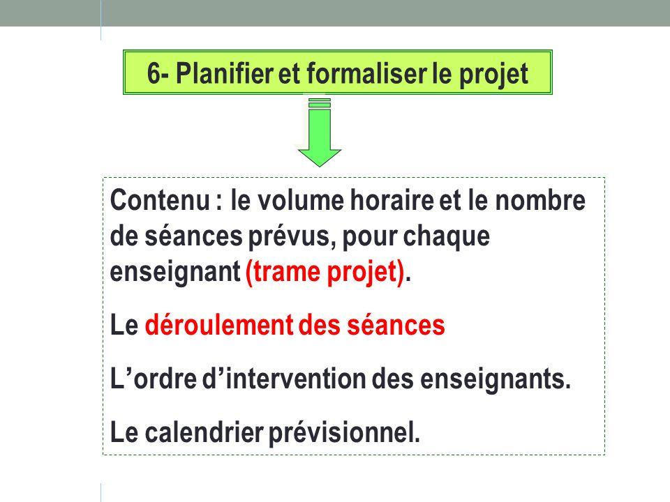 6- Planifier et formaliser le projet Contenu : le volume horaire et le nombre de séances prévus, pour chaque enseignant (trame projet). Le déroulement