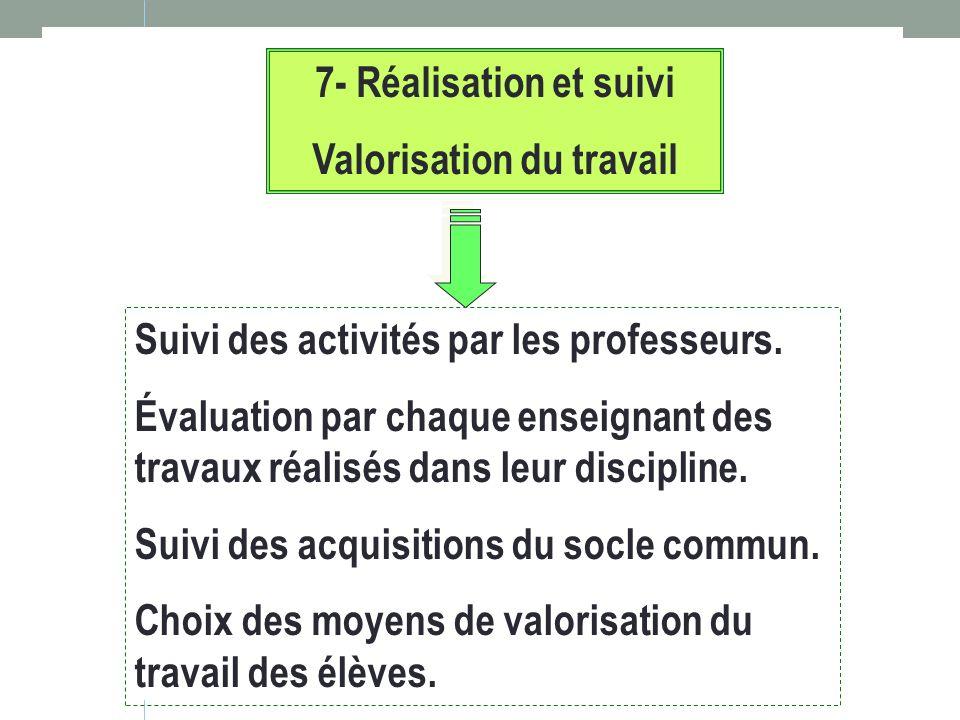 7- Réalisation et suivi Valorisation du travail Suivi des activités par les professeurs. Évaluation par chaque enseignant des travaux réalisés dans le