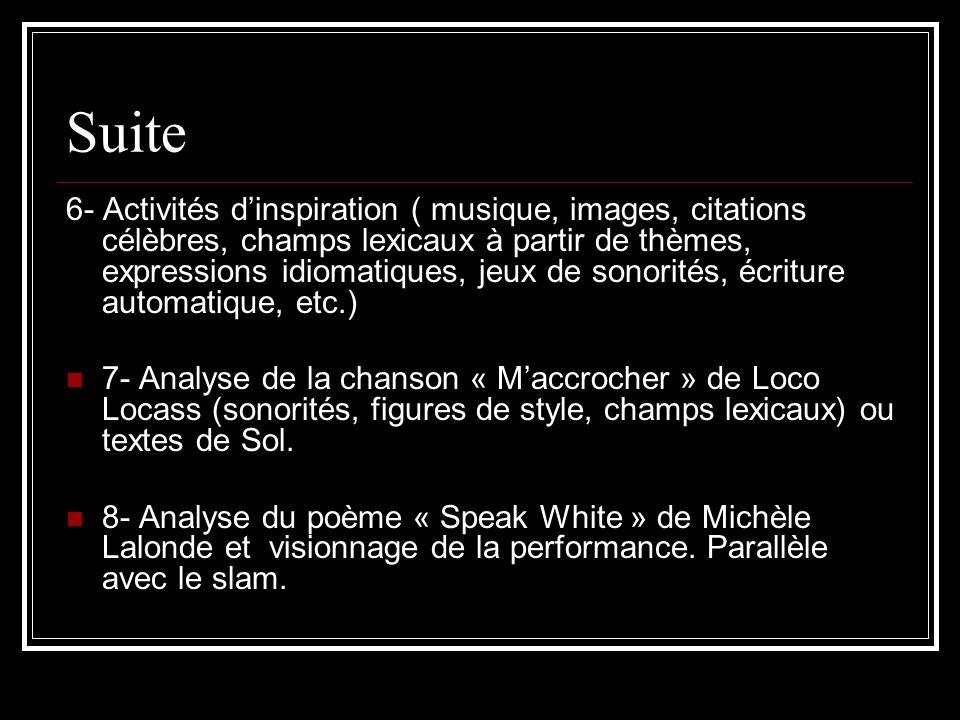 Suite 6- Activités dinspiration ( musique, images, citations célèbres, champs lexicaux à partir de thèmes, expressions idiomatiques, jeux de sonorités