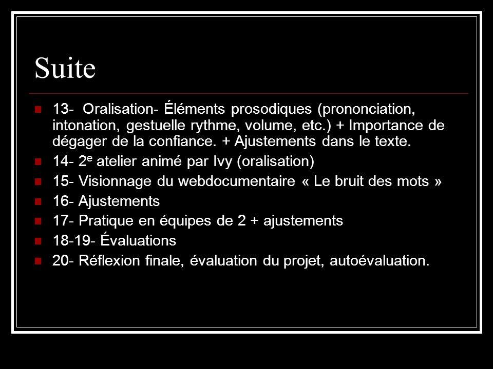 Suite 13- Oralisation- Éléments prosodiques (prononciation, intonation, gestuelle rythme, volume, etc.) + Importance de dégager de la confiance. + Aju