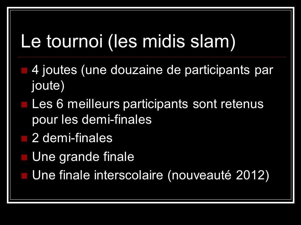 Le tournoi (les midis slam) 4 joutes (une douzaine de participants par joute) Les 6 meilleurs participants sont retenus pour les demi-finales 2 demi-f