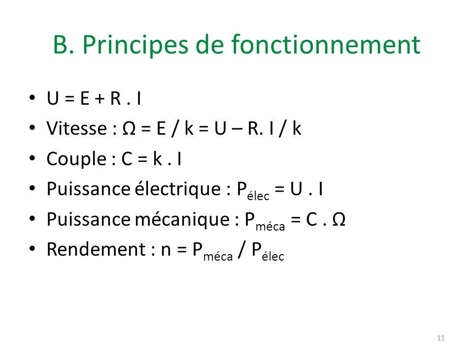 B. Principes de fonctionnement U = E + R. I Vitesse : = E / k = U – R. I / k Couple : C = k. I Puissance électrique : P élec = U. I Puissance mécaniqu