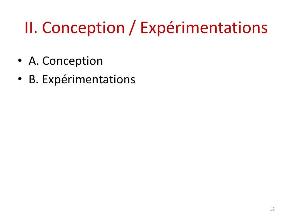 II. Conception / Expérimentations A. Conception B. Expérimentations 12