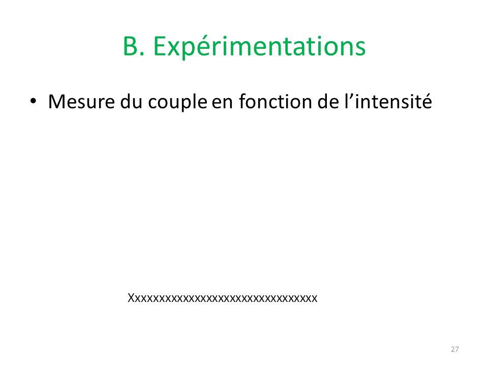 B. Expérimentations Mesure du couple en fonction de lintensité 27 Xxxxxxxxxxxxxxxxxxxxxxxxxxxxxxxx