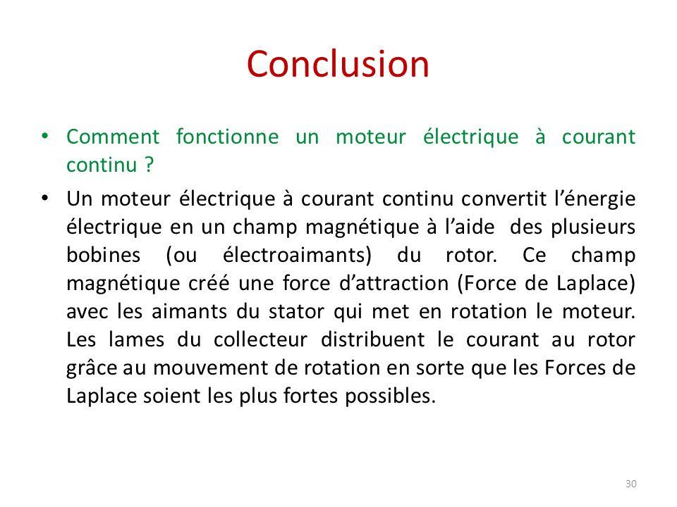 Conclusion 30 Comment fonctionne un moteur électrique à courant continu ? Un moteur électrique à courant continu convertit lénergie électrique en un c