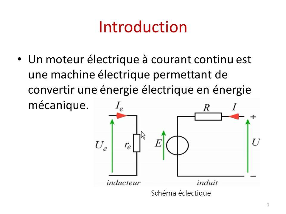 Introduction 4 Un moteur électrique à courant continu est une machine électrique permettant de convertir une énergie électrique en énergie mécanique.