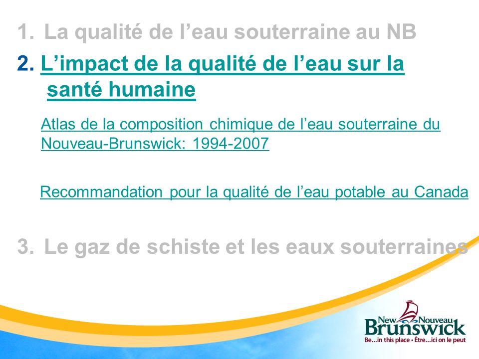 1.La qualité de leau souterraine au NB 3.Le gaz de schiste et les eaux souterraines 2. Limpact de la qualité de leau sur la santé humaineLimpact de la