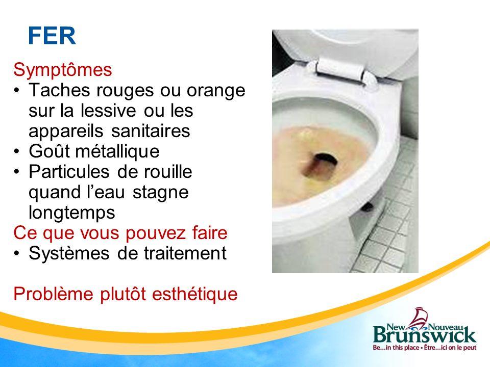 FER Symptômes Taches rouges ou orange sur la lessive ou les appareils sanitaires Goût métallique Particules de rouille quand leau stagne longtemps Ce