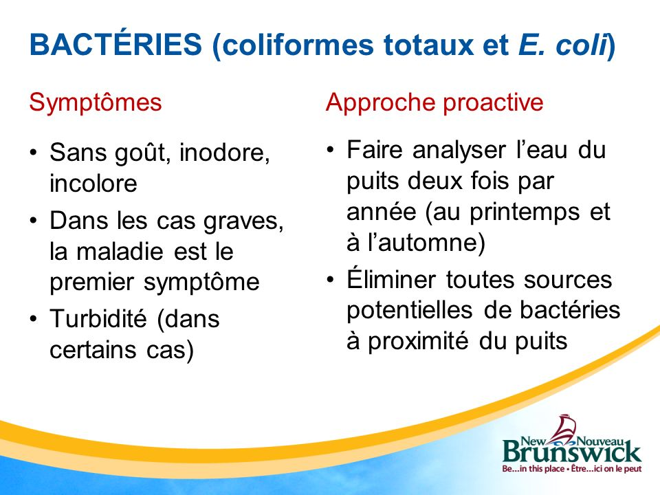 BACTÉRIES (coliformes totaux et E. coli) Symptômes Sans goût, inodore, incolore Dans les cas graves, la maladie est le premier symptôme Turbidité (dan
